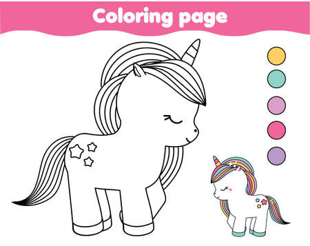 Coloring page with cute unicorn. Drawing kids activity. Printable fun for toddlers and children 矢量图像