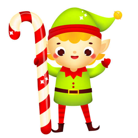 Christmas elf. Cute Santa's helper holding big candy cane. Isolated cartoon character for new Year greeting design