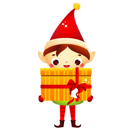 Christmas elf. Cute Santa's helper holding big gift box. Isolated cartoon character from Santa Claus Pole factory for new Year greeting design 矢量图像
