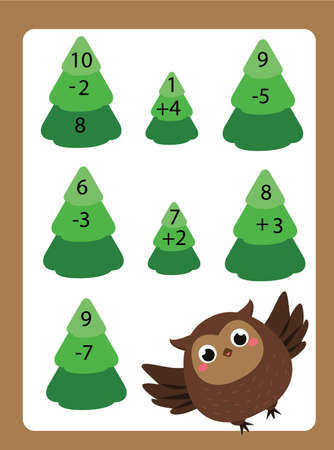 Mathematics worksheet. educational game for children. Learning counting. Addition and subtraction equations for school years kids with cartoon owl character 矢量图像