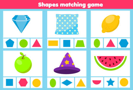 Matching children educational game. Match real objects with geometric shapes. Learning forms activity for kids and toddlers 矢量图像