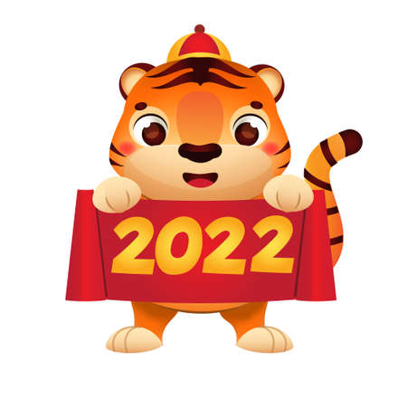 Cartoon tiger with celebration scroll. Happy Chinese new year celebration character for 2022 year of tiger. vector clip art 矢量图像