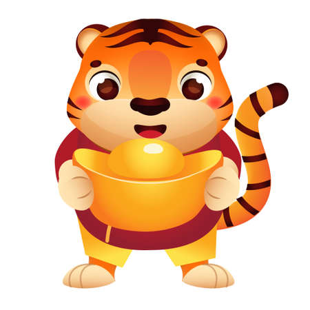 Cartoon tiger with golden boat yuanbao ingot. Happy Chinese new year celebration character for 2022 year of tiger. vector clip art 矢量图像