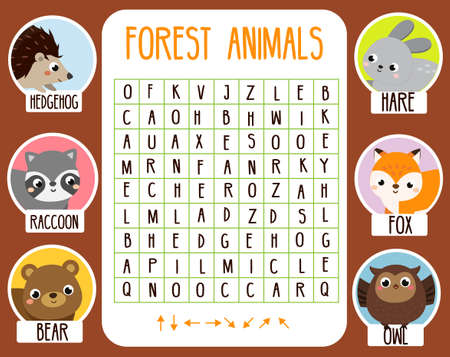 Educational game for children. Word search puzzle. Learn forest animals for kids and toddlers. 矢量图像
