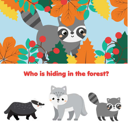 Educational game for children, kids activity. Matching game with forest animals