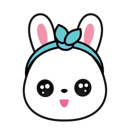 Cute rabbit. Bunny face in kawaii style. Sticker, Vector clip art 矢量图像