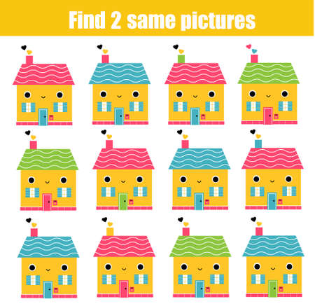 Children educational game. Find two same pictures of Cute houses. Activity fun page for toddlers and babies