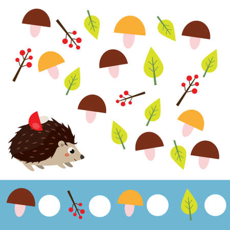 Mathematics educational children game. Counting objects. Study numbers, addition. Help hedgehog count toys
