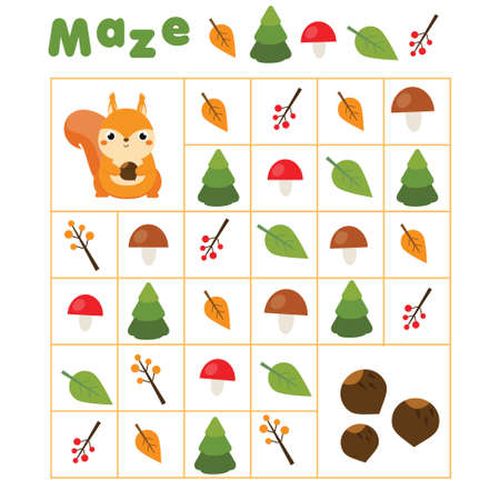 Maze game. Labyrinth with navigation. Help squirrel find nuts. learning left, right, up and down. Animals theme Educational page for kids. 矢量图像