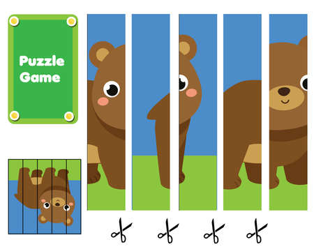 Forest animals Puzzle for toddlers. Match pieces and complete the picture of bear. Educational game for children, kids activity page
