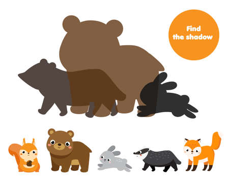 Shadow matching game. Kids activity with cartoon forest animals. Find silhouette page for toddlers