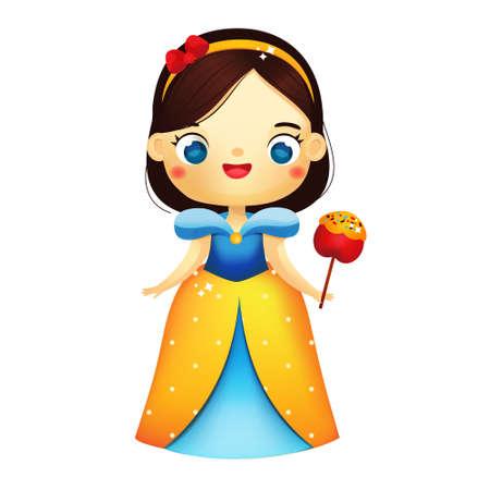 Cute fairy princess with apple. Cartoon girl in beautiful dress. Snow White fairy tale character. Vector clip art 矢量图像