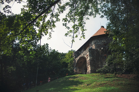 Tower of fortress in Vysehrad, Hungary, summer 2014 photo