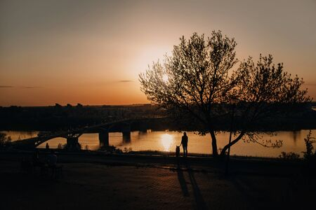 girl and dog looking out to the city by the river at sunset Stock Photo