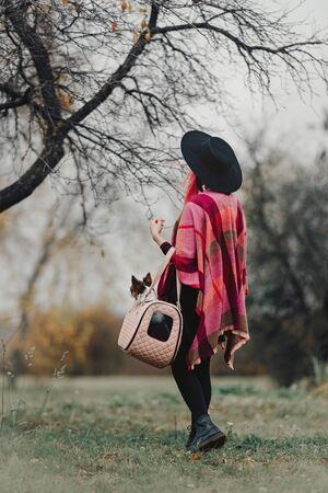 woman with pink hair holding chihuahua dog in a handbag, rear view