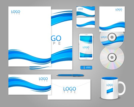 guideline: White corporate identity template with blue waves. Vector company style for brandbook and guideline