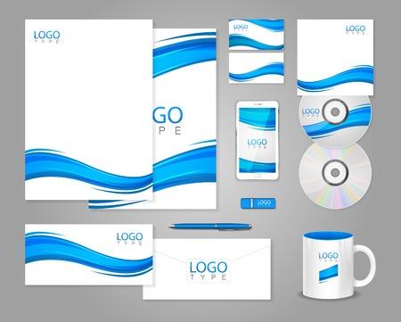 青い波と白い企業の id テンプレート