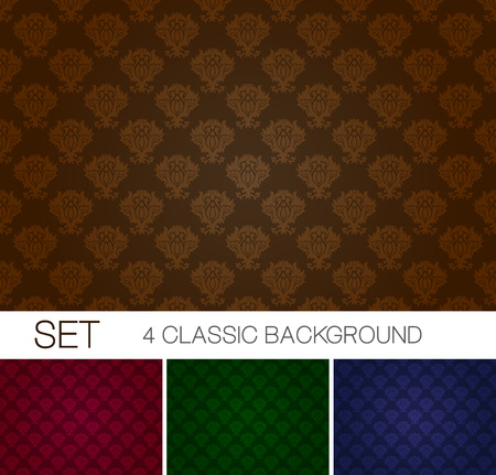 bordo: Set of seamless background with Damascus ornament Illustration