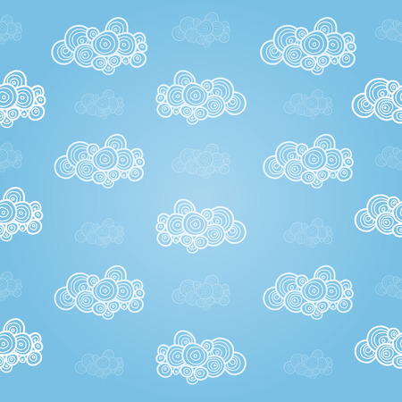 handdrawn: Seamless pattern with hand-drawn clouds