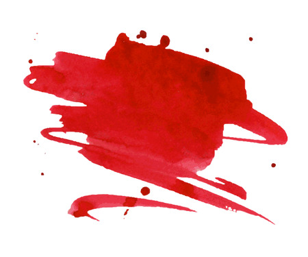 colours: Red watercolor stain with aquarelle paint blotch