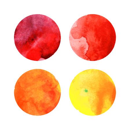 Set of colorful watercolor vector circles Vector