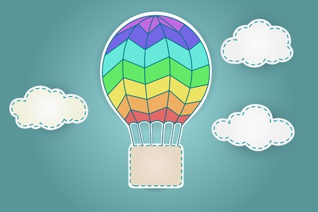aerostat: Colorful aerostat with clouds