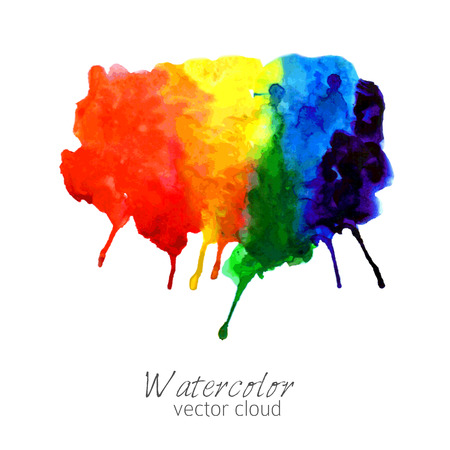 rainbow clouds: Abstract watercolor rainbow gradient stain Illustration