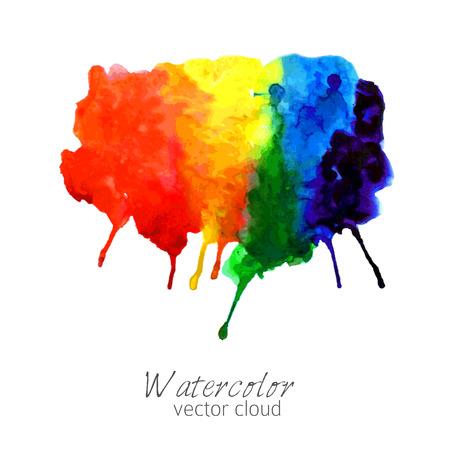 arco iris: Acuarela abstracta gradiente de arco iris mancha Vectores