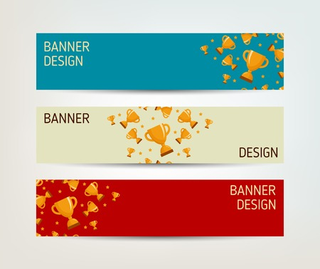 award trophy: Set of vector banners with winners cup