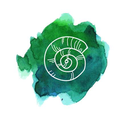 밝은 바다 녹색 수채화 얼룩에 바다 셸