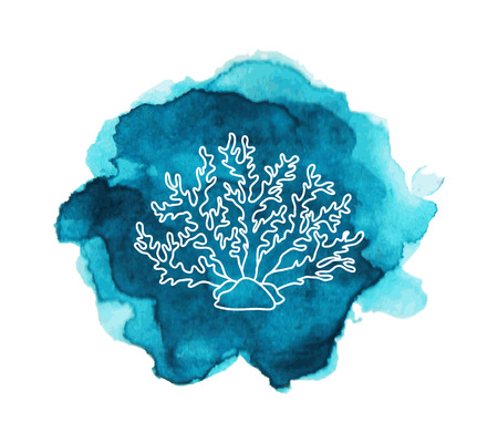marine aquarium: Underwater ocean and aquarium coral icon. Coral on the blue watercolor stain Illustration