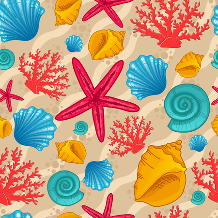 beach wrap: Seamless pattern with seashells, starfish and coral. Background with waves. Vector illustration can be used for fills, web page background, surface, textile, wrap