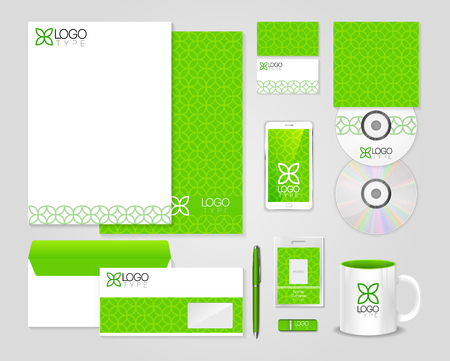 guideline: Eco green corporate identity template. Vector company style for brandbook and guideline.