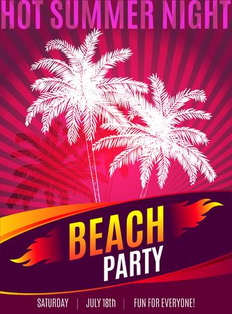 Diseño del partido playa con el lugar de texto. fiesta de noche de verano caliente. Ilustración de vector