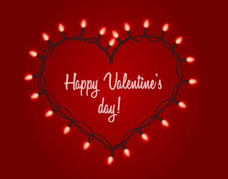 Valentijnsdag achtergrond. Garland met fel licht in de vorm van hart Vector Illustratie