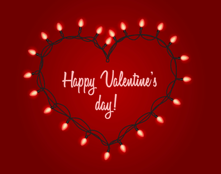 Valentines day background. Garland with bright lights in the shape of heart