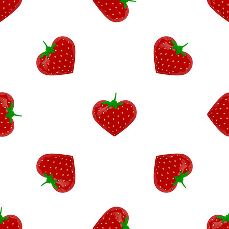 Seamless pattern with strawberry. Endless print texture. Food. Fruit. Berry. Simple. Cartoon hand drawing illustration - vector