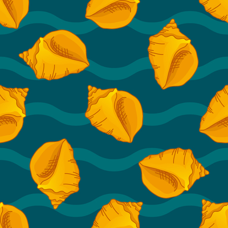 beach wrap: Seamless patterns with seashells. Light background with waves. Vector illustration can be used for fills, prints, web, surface, textile, wrapping paper