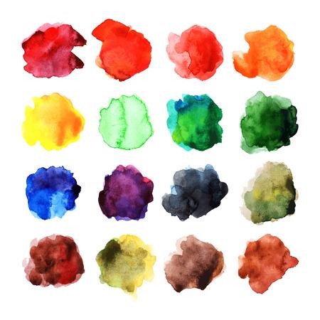 aquarelle: Set of vivid watercolor stains. Aquarelle paint blotchs