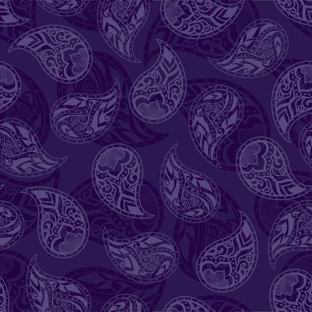 Purple vintage floral seamless pattern. Paisley ornament. Oriental motif. Vector illustration Ilustracja