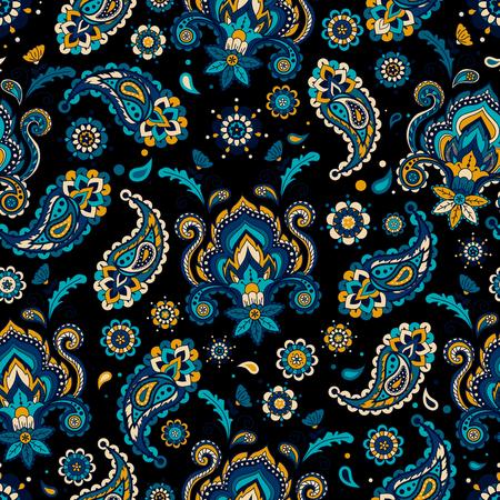 다채로운 빈티지 플로랄 원활한 패턴입니다. 페이 즐 리 장식입니다. 동양의 모티브. 벡터 일러스트 레이 션