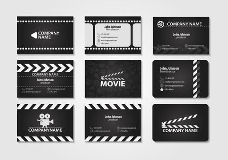 Vector conjunto de tarjetas de visita creativas. Tarjetas de película, director de cine, productor Ilustración de vector