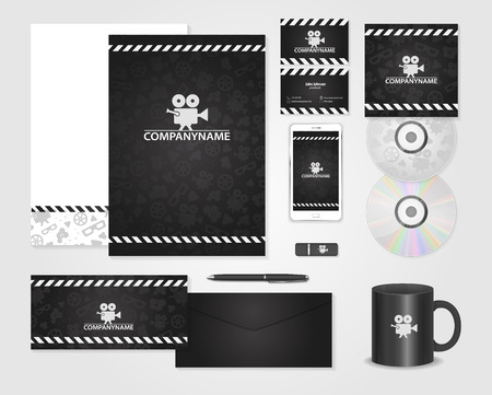 Vector set of creative business cards cards for movie film black corporate identity template for producer cards for movie film maker producer colourmoves Gallery