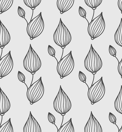 Floral background with stylized leaves. Vector seamless pattern
