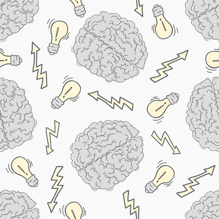 brainstorm: Brainstorm. Seamless pattern with the human brain