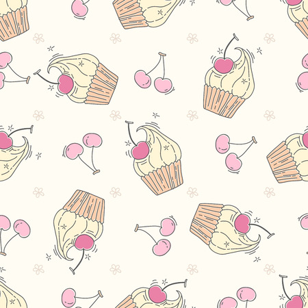 Seamless pattern with cupcakes and berries in doodle style
