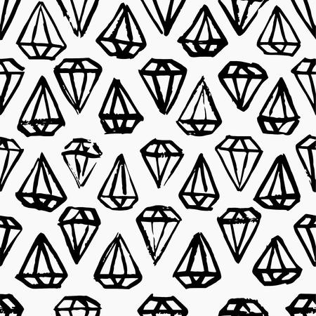 Diamond black and white hand drawn seamless background