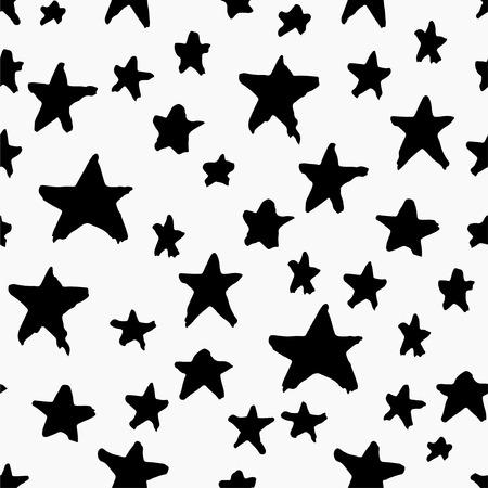 Monochrome seamless pattern with stars