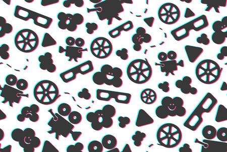 Seamless pattern of movie design elements