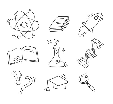 Set of Hand Drawn Science icons Ilustrace